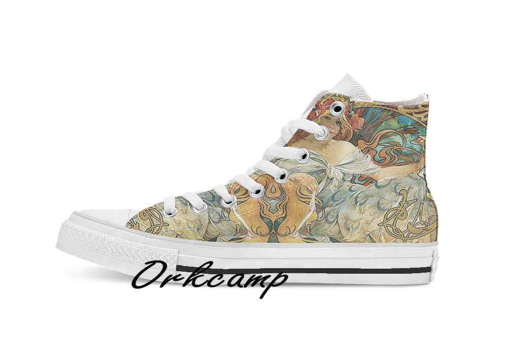 Vintage Alphonse Mucha Advertising 1896 Art Nouveau  Custom Casual High Top lace-up Canvas shoes sneakers Drop shipping