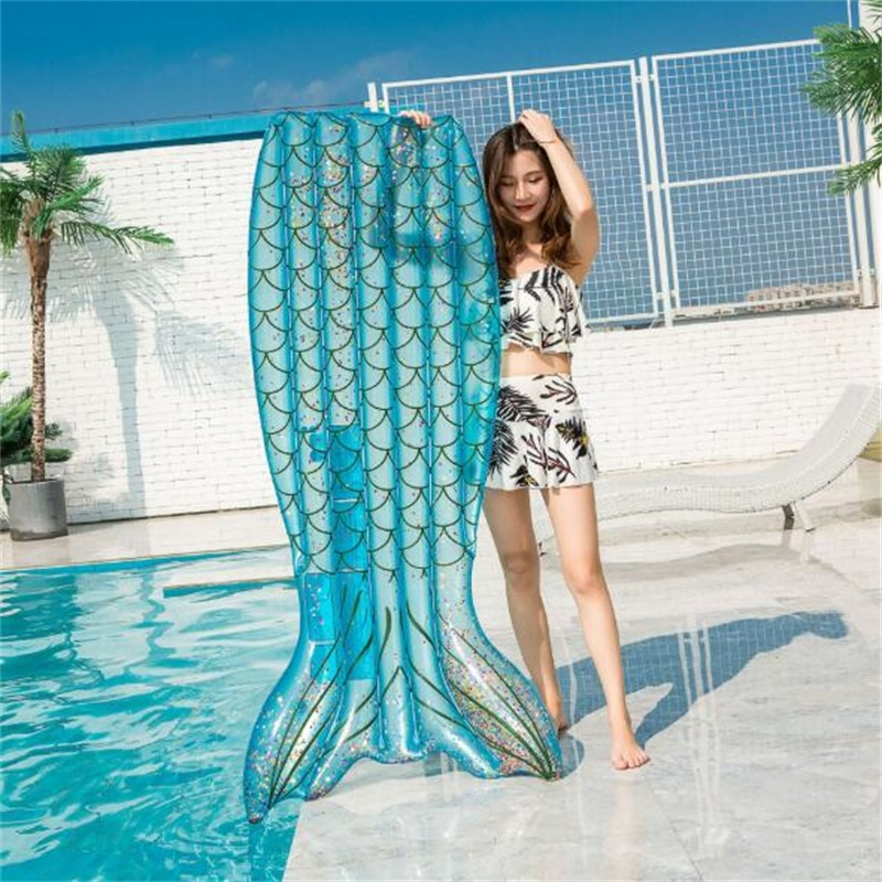 Big Size Summer Inflatable Mermaid Tail Shape Swim Pool Floats Raft Air Mattresses Swimming Fun Water Sports Beach Toy For Adult