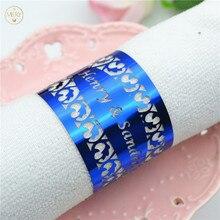 150 шт Лазерная резка Индивидуальные филигранные королевские синие свадебные кольца для салфеток