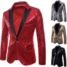 CYSINCOS Fashion Mens Suit Jacket With Bow Tie Gold White Red Black Sequin Costume Nightclub Wedding Grooms Shiny Blazer(China)