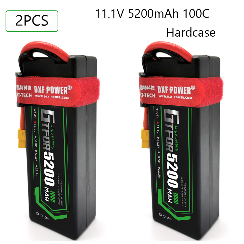 GTFDR lipo Battery 3S 11.1V 5200mAh 100C -200C XT60 T Plug HardCase Lipo Battery for RC HPI HSP 1/8 1/10 Buggy RC Car Truck image