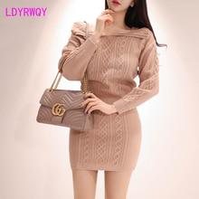 2019 Korean version of the head sole Slim twisted knit top + high waist knitted wool skirt Knee-Length  Drawstring  Slash neck