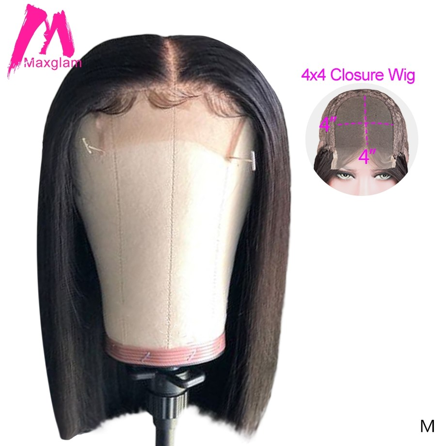 Lace Front Human Hair Wigs 4x4 Closure Wig Natural Straight Short Bob Human Hair Wig Brazilian Remy Pre Plucked For Black Women