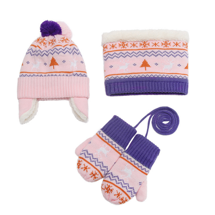 Korean-Style Children's 3pcs Set Scarf Gloves Boy'S Girls Knitted Winter Hat Warm Plus Velvet
