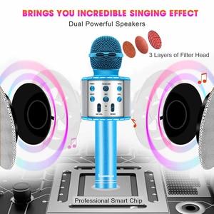 Image 4 - ブルーで4 1 ledワイヤレスbluetoothマイクスピーカープロフェッショナルハンドヘルドカラオケマイク音楽プレーヤー歌レコーダーktvマイク