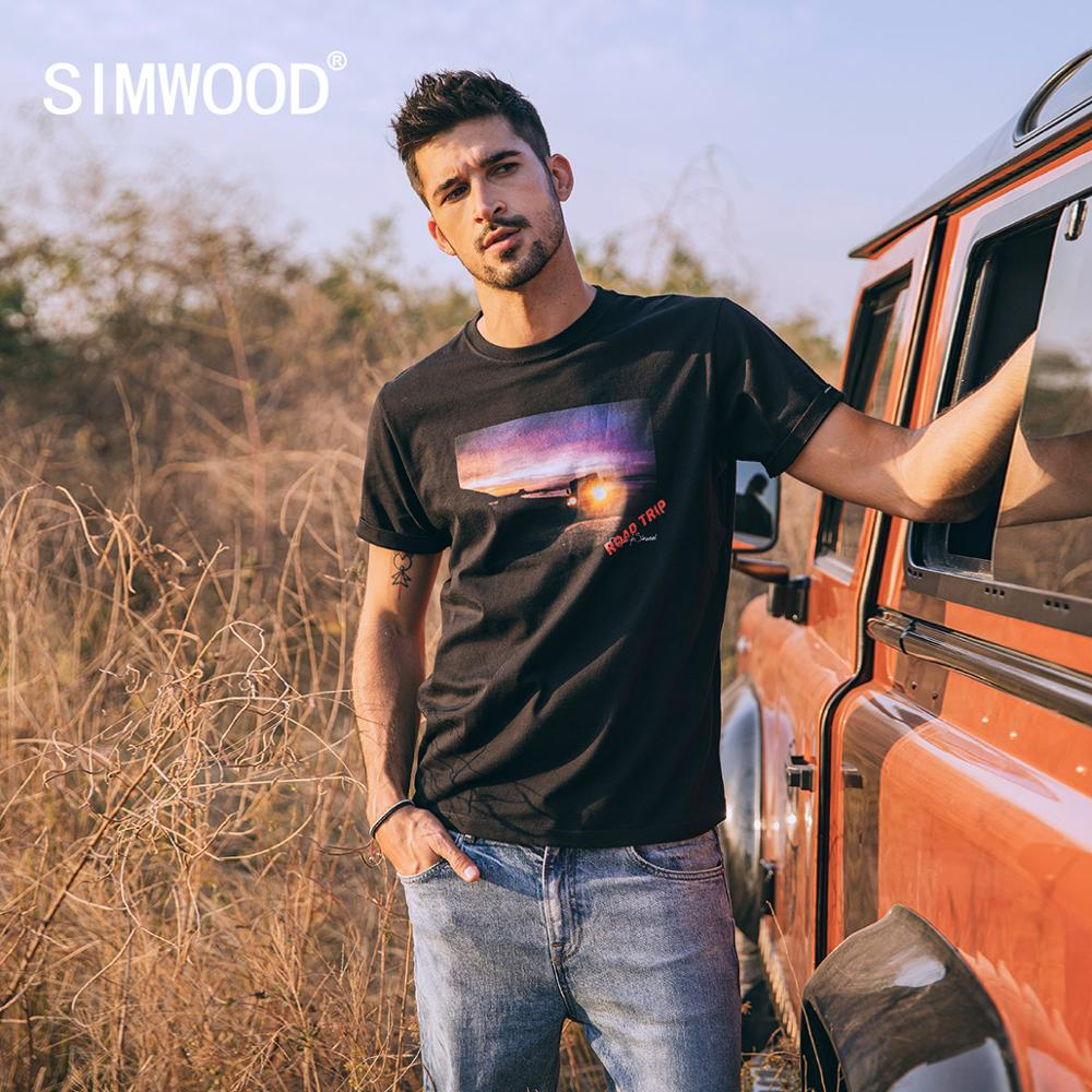 SIMWOOD 2020 Summer New Sunset Print T-shirt Men Fashion 100% Cotton Tops Plus Size Tees Comfortable  Breathable Tshirt SJ120349