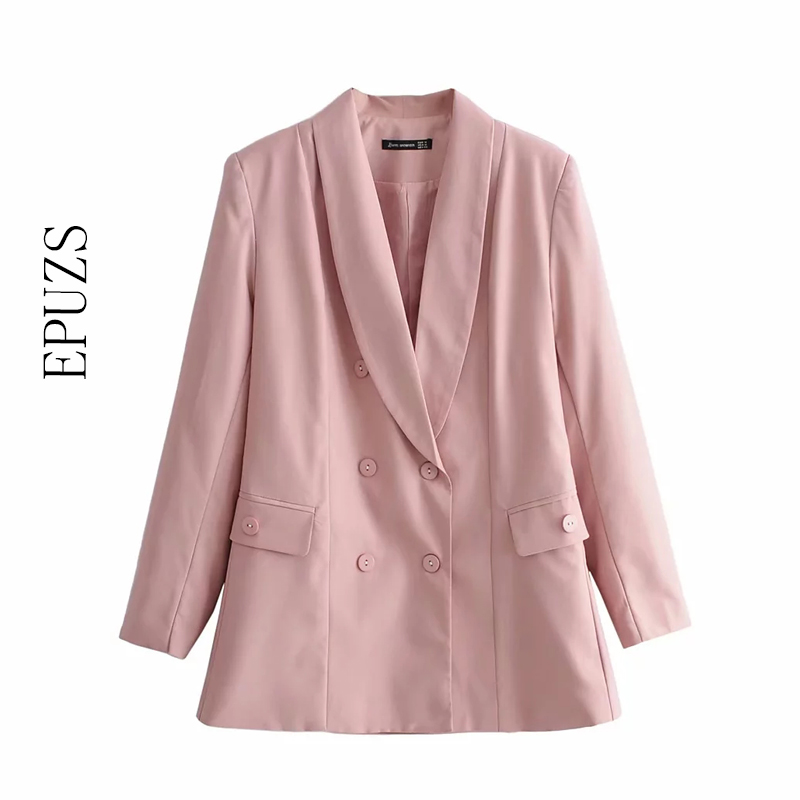 Autumn Pink Women Blazers And Jackets Vintage Double Breasted Office Blazer Coat Long Sleeve Korean Suit Jacket Streetwear 2019