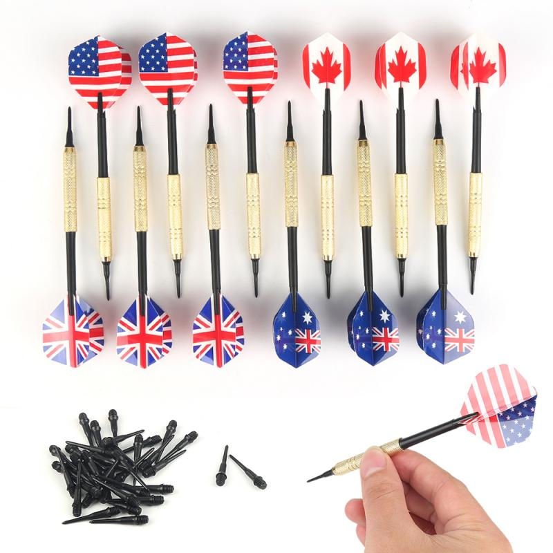 Newest 12 Pcs Soft Tip Darts With National Flag Flights With Extra Plastic Tips With 4 Kinds Flights For Electronic Dartboard