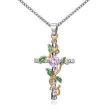 Women Rhinestone Cross Necklace Bohemian Leaf Wrapped Personalized Jewelry Simple Ladies collier Party