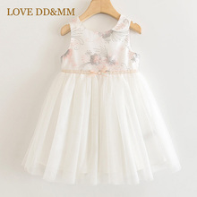 LOVE DD&MM Girls Dresses 2020 Summer New Girls Flower Embroidery Bow Temperament Stitching Mesh Sleeveless Princess Dress