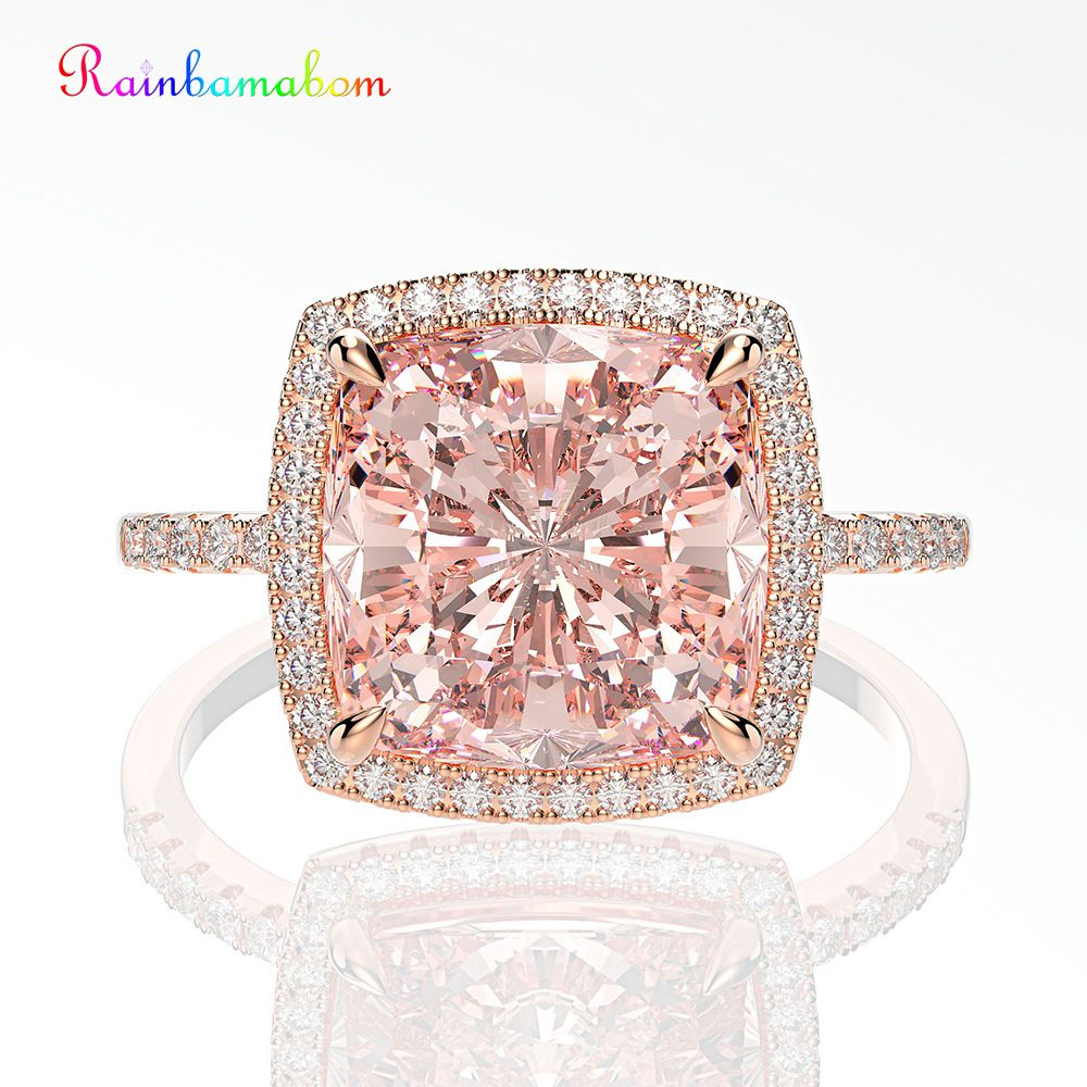 Rainbamabom 925 Solid Sterling Silver Moissanite Morganite Gemstone Wedding Engagement Rose Gold Ring Fine Jewelry Wholesale