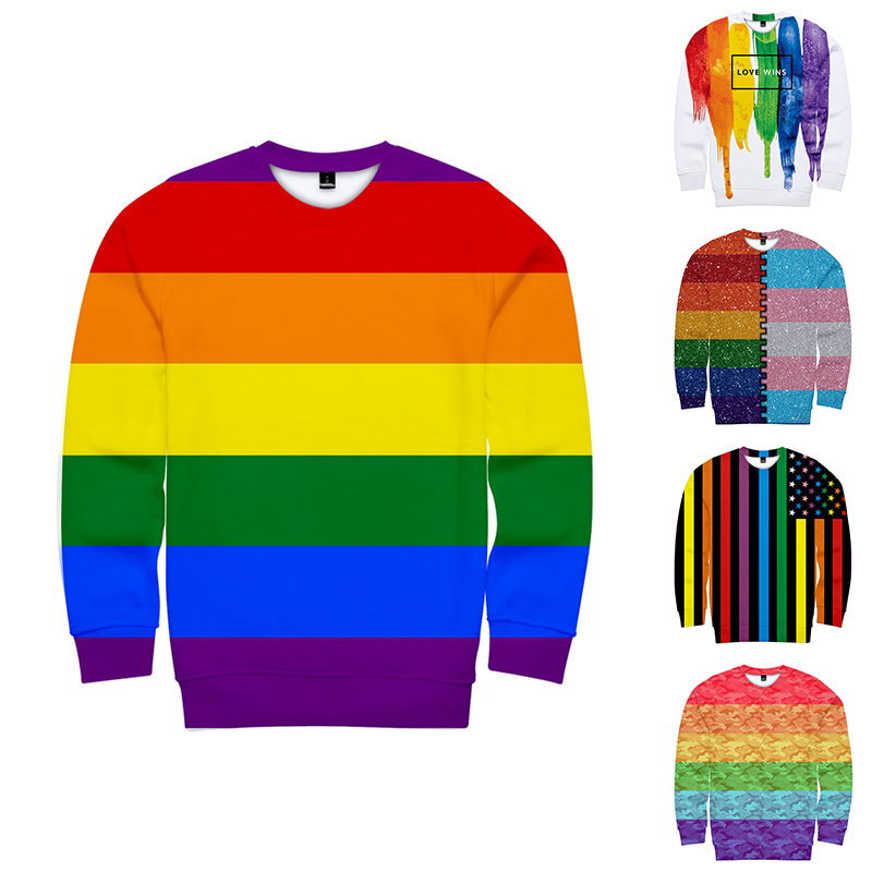 2019 LGBT Hoodies Sweatshirts Rainbow Flag Lesbians Gays Fashion Men/Women Capless Sweatshirt Mens Long Sleeve Unisex 3D Hoodie