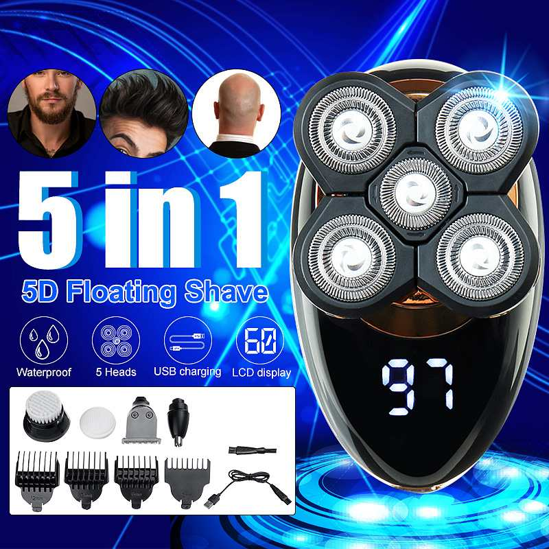 SPZ 5 In 1 4D Electric Shaver USB Rechargeable IPX5 Ergonomic Design For Men Women Bald Head Polish Hair Clipper Trimmer