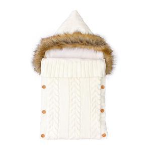Image 3 - Baby Sleeping Bags Envelopes Swaddle Wrap Grey Hooded Newborns Girls Knitted Sleepsacks Winter Warm  Infantil Boys Stroller 0 6M