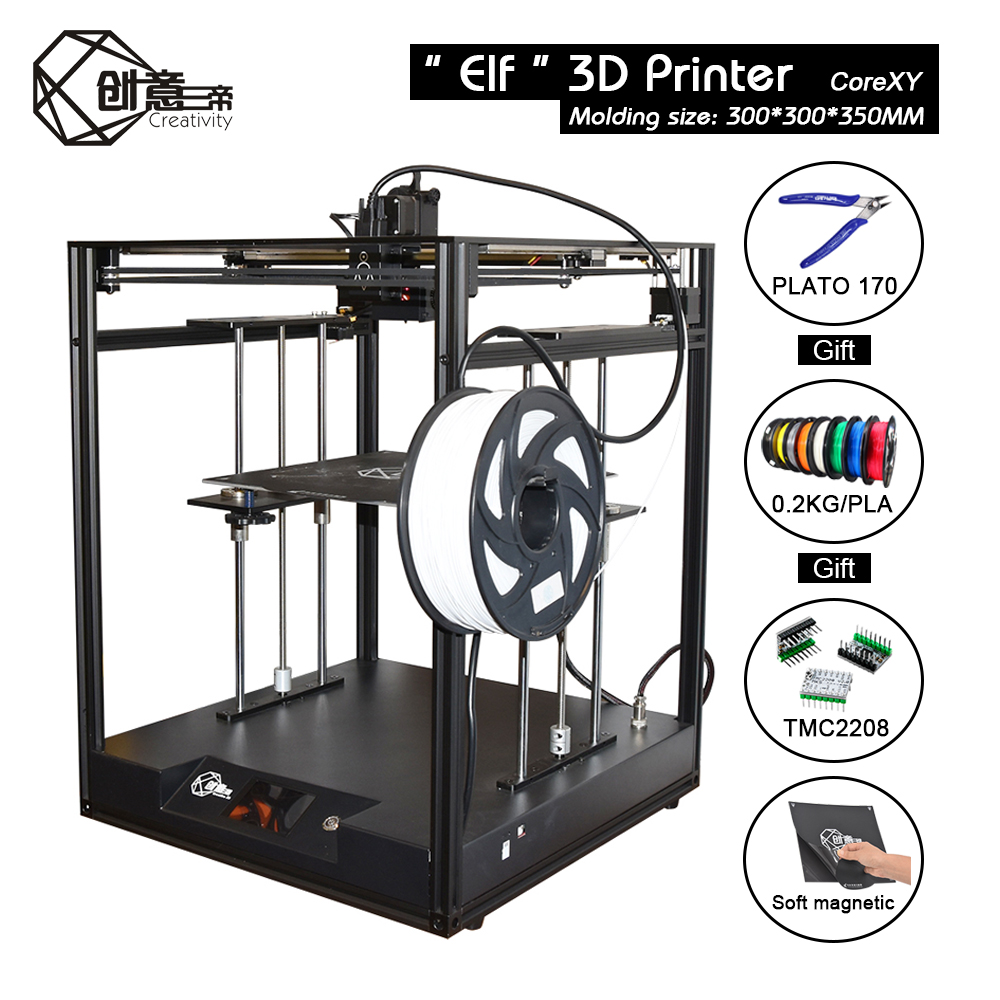 Image 5 - CoreXY Elf Dual Z Axis 3D Printer High Precision Aluminum Profile Frame Large Area FDM Low noise with TMC2208 3dTOUCH3D Printers   -