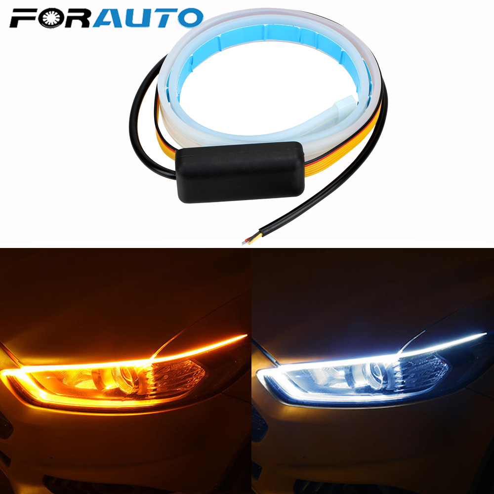 1/2Pcs Ultrafine Cars DRL LED Daytime Running Lights White Turn Signal Yellow Guide Strip For Headlight Assembly Drop Shipping