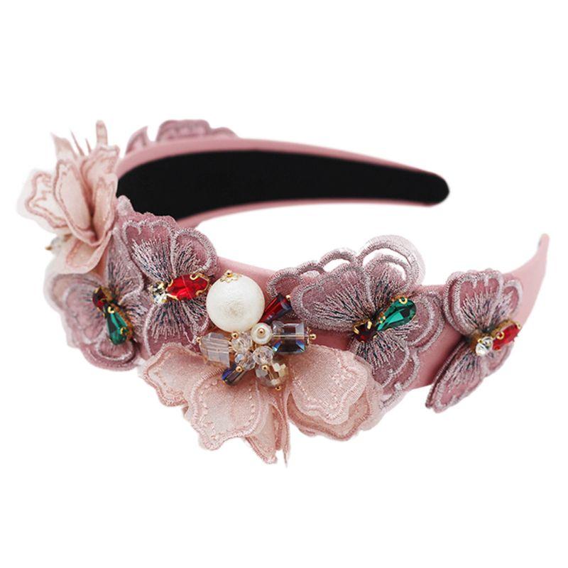 Feminino em camadas bordado borboleta bandana pérola strass frisado cabelo hoop