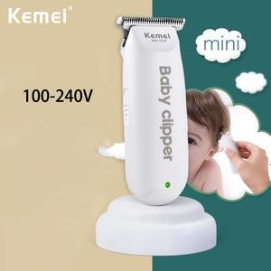 Image 1 - Kemei Mini tondeuse électrique USB, tondeuse Portable pour enfants, coupe de cheveux pour bébés, rasage domestique silencieux et Rechargeable
