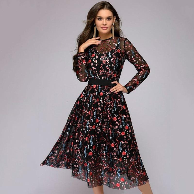 BacklakeGirls Robe De Soiree Elegant A Line Floral Print Long Sleeve Evening Dress Mid-Calf O-neck Boho Dress Vestido De Festa