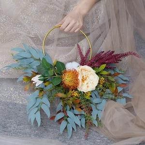 Image 3 - Gold Metal Ring Bride Portable Garland Artificial Flower Rack DIY Wedding Wreath Circle Girls Catching Dream Hoop Hanging Decor