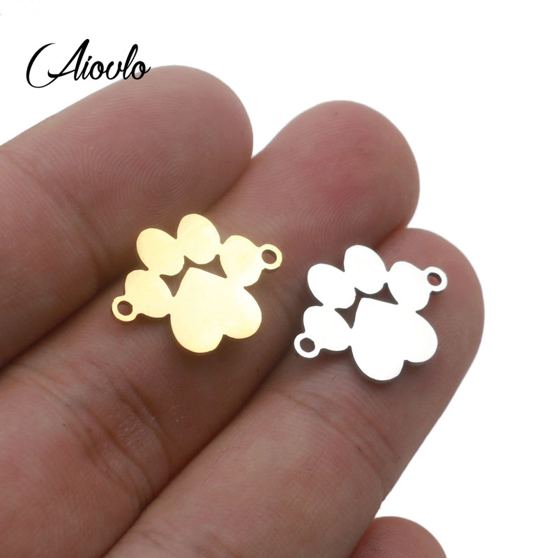 5pcs/lot Stainless Steel  Charm Connection For Diy Jewelry Making Bear Dog Pet Paw Charms Jewelry Findings Making Accessories