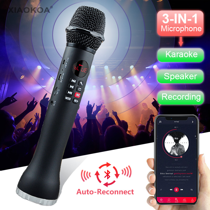 Professional Karaoke Microphone 3 In 1 Recording Wireless Speaker With Bluetooth For Phone For Ipad Condenser Microphone XIAOKOA