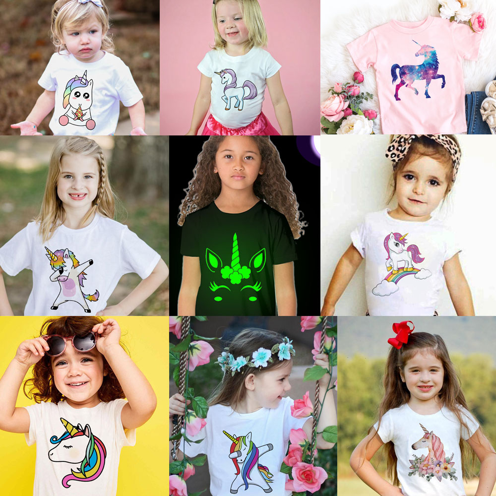 Toddler Girl T-shirt 2 3 4 5 6 7 8 9 10 11 12 Years Unicorn Kids T Shirt Luminous Children Summer Tshirt Girl Unicorn Shirt