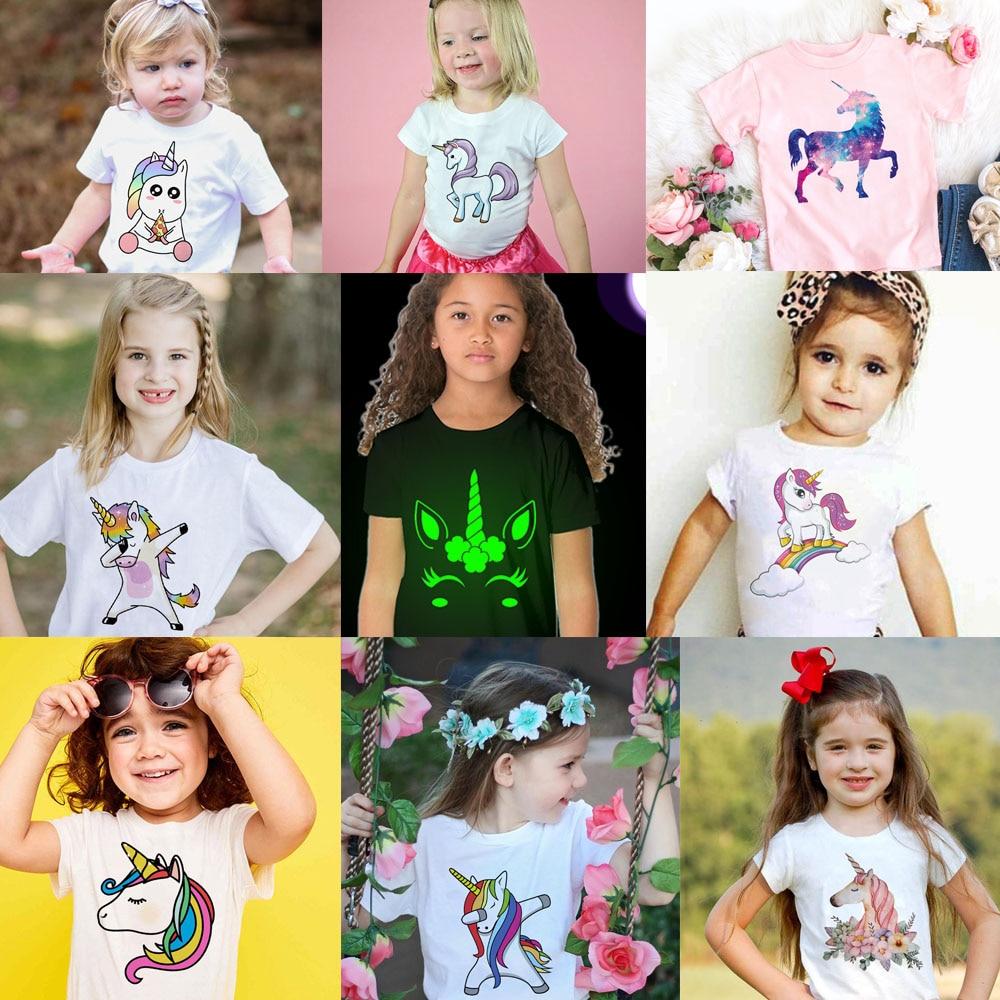 Toddler Girl T-shirt 2 3 4 5 6 7 8 9 10 11 12 Years Unicorn Kids T Shirt Luminous Children Summer Tshirt Girl Unicorn Shirt