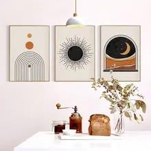 Cartaz boêmio sol lua pintura da lona abstrato impressão da arte da parede nórdico moderno imagem para sala de estar na parede decoração casa