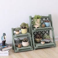 2 Layers Plant Stand Wooden Ladder Shelf Rot proof Wood Plant Stand Foldable Book Shelf Sundries Storage Rack Holder Flower Rack