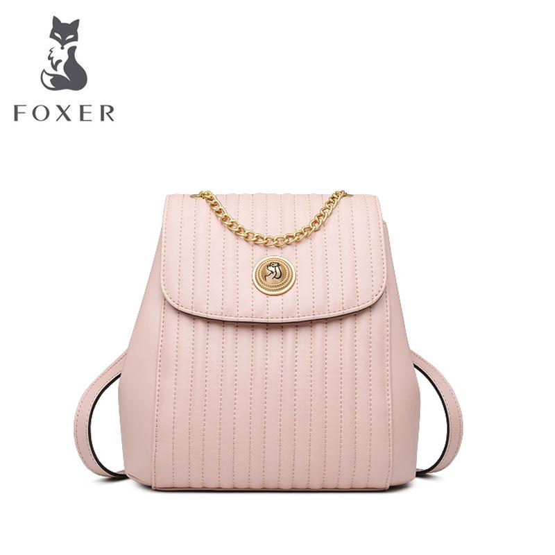 FOXER 2019 nouveaux sacs de designer célèbre marque femmes sacs de luxe en cuir sac à dos mode chaîne femmes sac à dos