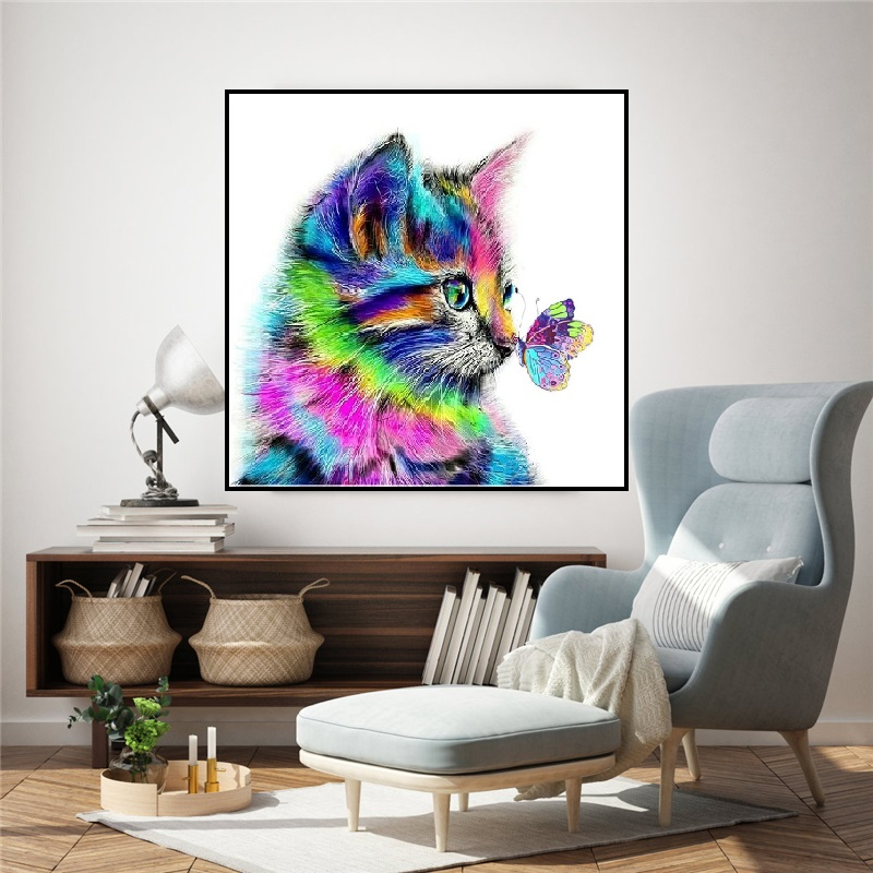 Colorful Cat And Butterfly Painting By Numbers Modern Wall Art Handpaint  DIY Digital Oil Painting On Canvas For Home Decoration