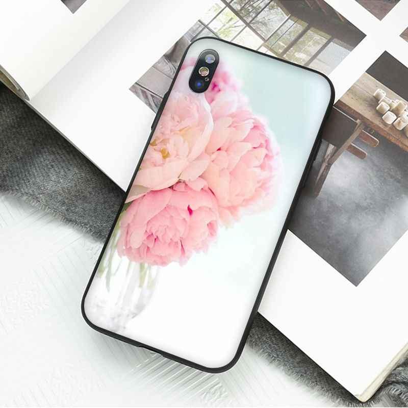 Maiyaca ピンクの花牡丹花瓶電話アクセサリーケース iphone 11 プロ xs 最大 xs xr 8 7 6 プラス 5 5 s 、 se