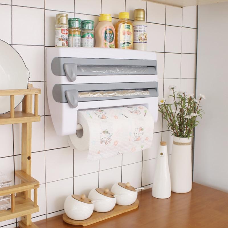 Wall-Mount Paper Towel Holder Sauce Bottle Storage Rack Kitchen Organizer Preservative Film Dispenser Sauce Roll Paper Storage