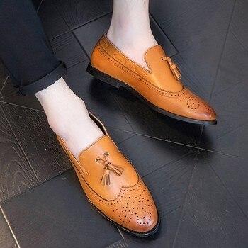 Italian Leather Men Brown Black Wedding Oxford Shoes Tassel Slip On Office Business Suit Men's Dress Shoe zapatos hombre