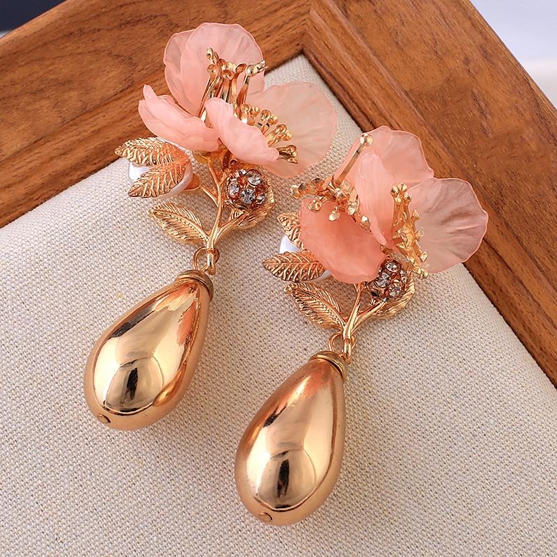 AENSOA Resin Flower Water Drop Alloy Earrings 2019 Korean Personality Rose Temperament Sweet Metal Earrings For Women Jewelry