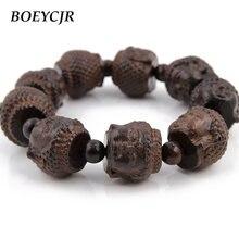 Boeycjr браслеты и из бусин будды с резьбой по дереву этнические