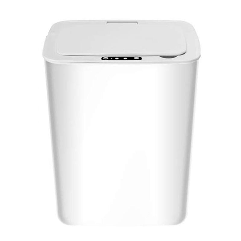 Sensor Prullenbak, Keuken Contactloze Vuilnisbak Met Deksel, batnroom Usb Opladen Smart Vuilnisbak Afvalbak Wit 14L 1