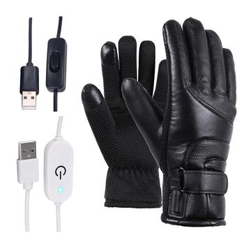 Winter Electric Heated Gloves Windproof Cycling Warm Heating Touch Screen Skiing Gloves USB Powered For Men Women