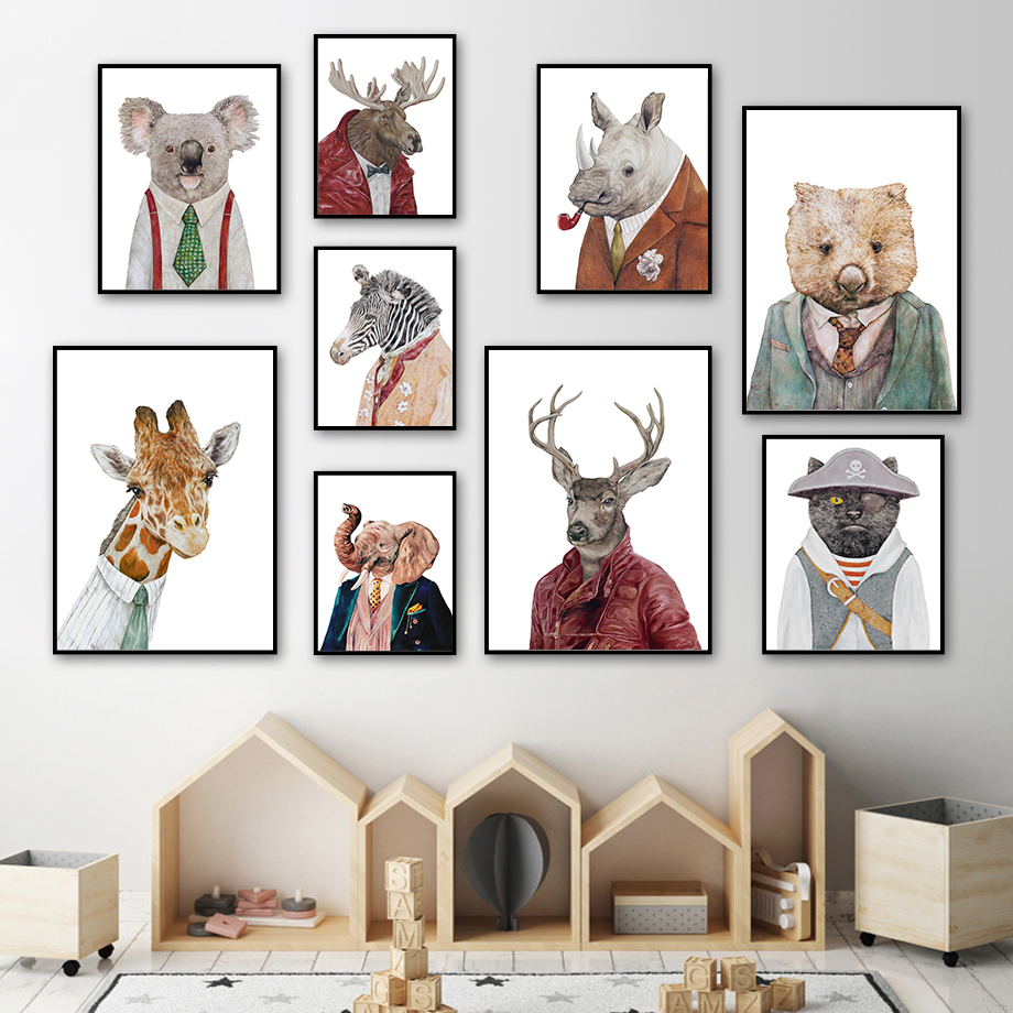 Abstract Cat Deer Giraffe Raccoon Vintage Wall Art Canvas Painting Nordic Posters And Prints Wall Pictures For Living Room Decor