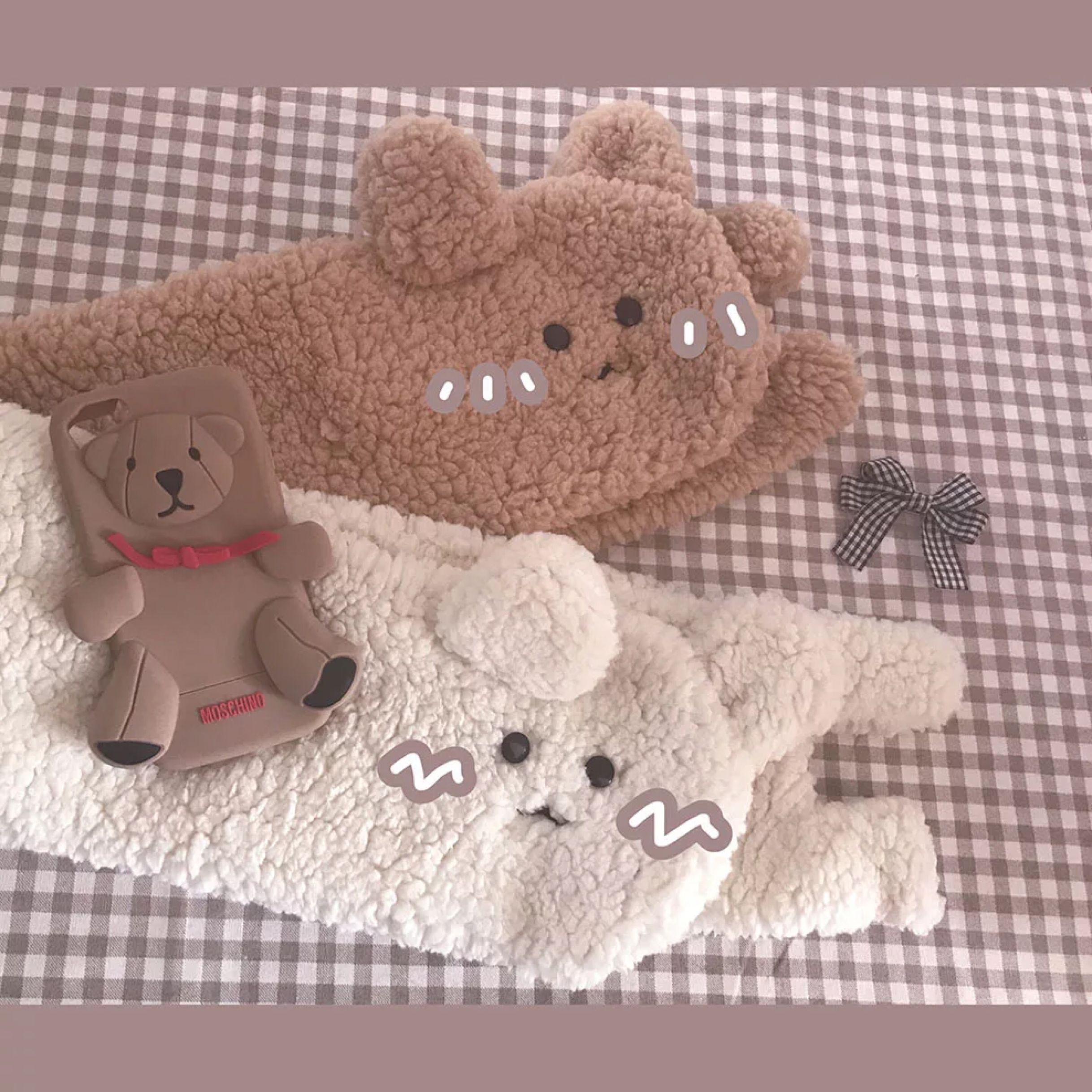 Fluffy Cute Scarf Cartoon Muffler Animal Pattern Young Girl Maid Rectangle Lambs Pure And Fresh Lovely Ins