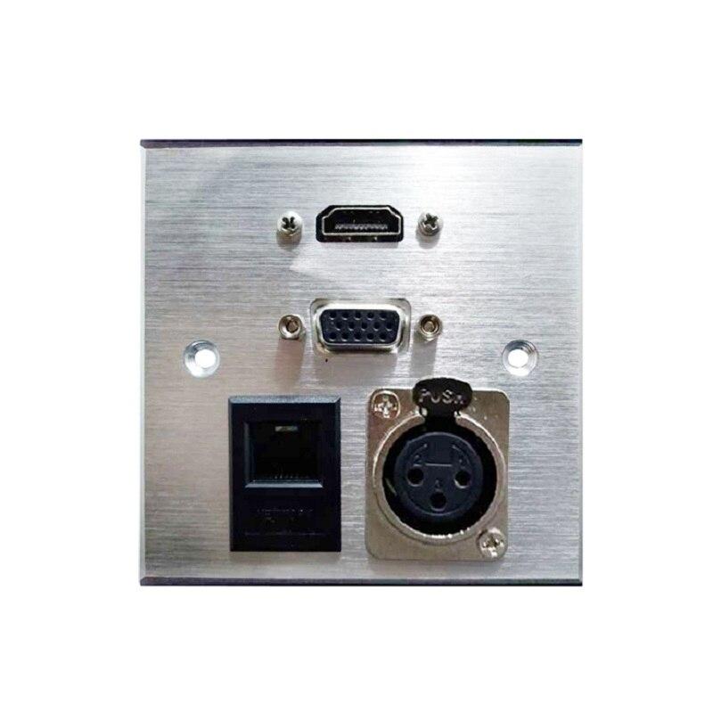 Top Grade Aluminium Alloy Panel Socket VGA HDMI 3Pin XLR NETWORK RJ45 Socket Home Hotel Rooms KTV Wall Socket