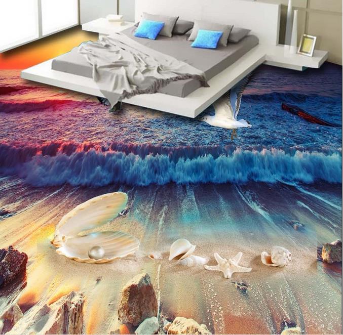 Красивые пляжные раковины водонепроницаемый Vynil полы обои 3D для кухни гостиной спальни ванной комнаты виниловые полы