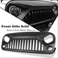 Car Front Grille Racing Grill ABS Cover For Jeep Wrangler JK Unlimited 2007 2008 09 10 11 12 13 2014 2015 2016 2017 Matte Black