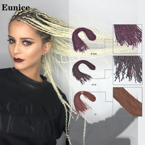 Zizi Crochet Box Braids Hair Synthetic Braiding Hair Extensions 25-32Strands/pack 613/1B/#99j/Blonde/Black 50g Eunice hair(China)