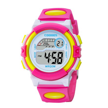 Waterproof Design Kids Watch Cute Pink Girl Digital Sports Led  Date Alarm Week Show Electronic Children Clock reloj