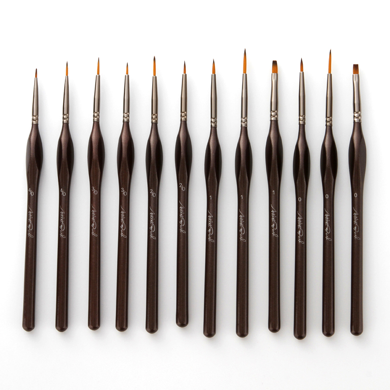 12Pcs/Lot Paint Brush Log Color Nylon Hair Oil Painting Brushes Set For Watercolor Acrylic Drawing Art Supplie