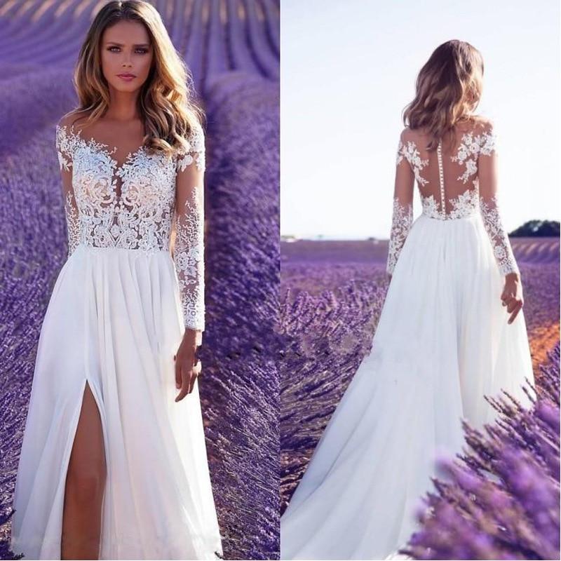 BacklakeGirls Long Sleeve White Lace Chiffion Evening Dress Sexy Side Split Illusion Back Appliques Bride Dresses Robe De Marie