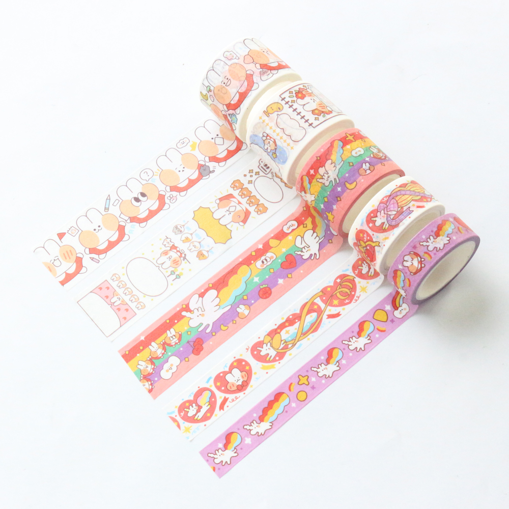 Domikee Cute Kawaii Japanese Cartoon School Student Masking Washi Tape Roll Kids DIY Decoration Masking Tape For Diary Planner