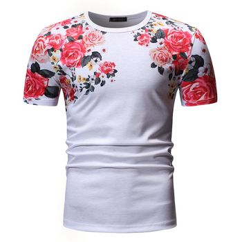 Mens Short Sleeve T-Shirt Summer New Fashion 3D Printed Casual O-Neck Floral Tees Of Various Colors And Styles